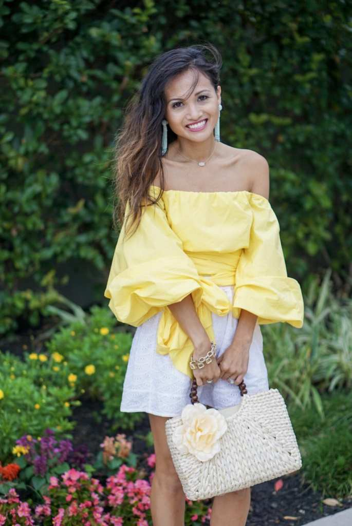 yellow top, bow blouse, blush and stone boutique, floral straw bag, tassel earrings