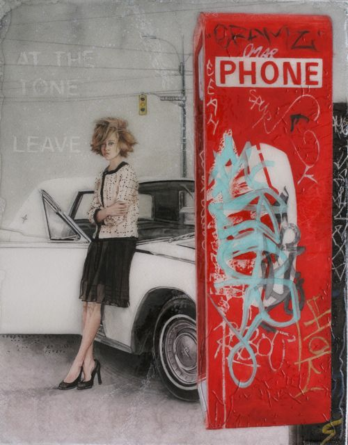 Telephone 11x14 watercolour & gloss varnish on papered board