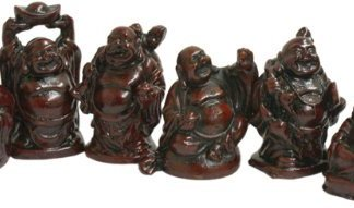 6 Oriental Chinese Laughing Lucky Buddhas Set