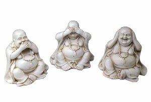 Buddha Happy Set Of 3 Hear See Speak No Evil 7.5X5.5X7cm