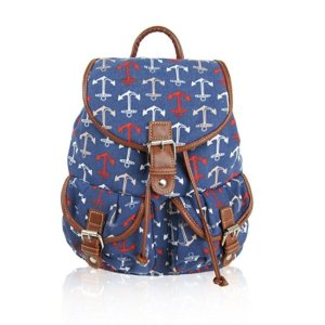 Blue Anchor Print Retro Rucksack