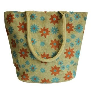 Jute-Super Shopper Button Bag