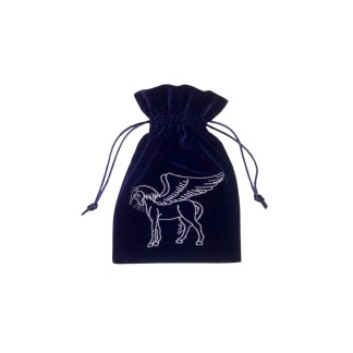 Pegasus Embroidered Luxury Navy Velvet Drawstring Tarot or Oracle Card Bag