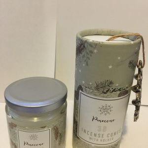 Pinecone scented candle in a jar Plus Pinecone scented Incense Cone Set