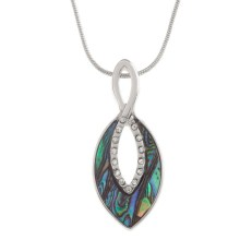 Tide Jewellery inlaid Paua shell oval twist pendant with inset glass stones, on 18″ snake chain. Comes in Tide Jewellery presentation box with stand up insert. Pendant 39mm.