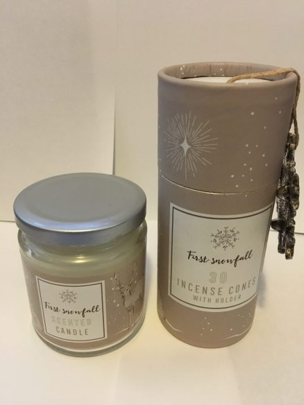 First Snowfall Scented Candle In A Jar plus First Snowfall Scented Incense Set