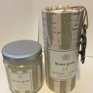 Winter Forest Scented Candle In A Jar Plus Winter Forest Scented Incense Cone Set