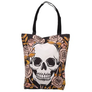 Handy Cotton Zip Up Shopping Bag - Skulls & Roses