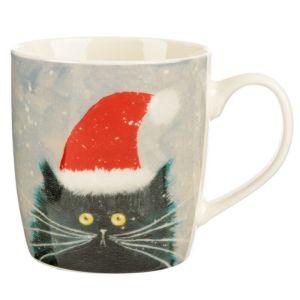 Christmas Porcelain Mug - Kim Haskins Christmas Cat