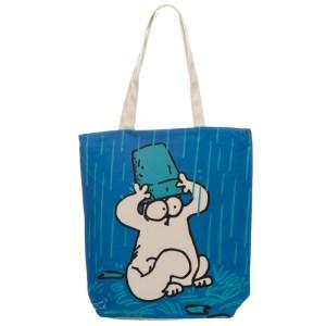 Handy Cotton Zip Up Shopping Bag - New Blue Simon's Cat