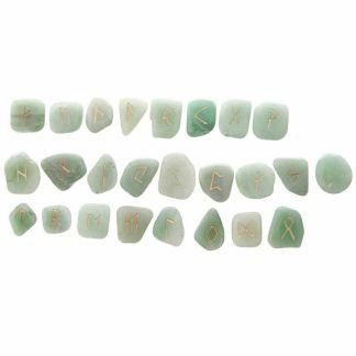 Bag of 24 Green Aventurine Rune Stones In Black Pouch