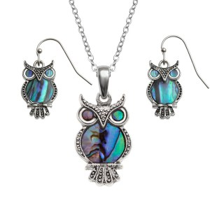 "Tide Jewellery inlaid Paua shell owl pendant on 18"" trace chain and matching hook earring set"