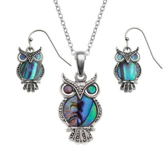 """Tide Jewellery inlaid Paua shell owl pendant on 18"""" trace chain and matching hook earring set"""