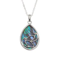 "Tide Jewellery inlaid Paua shell pair of doves pendant on 18"" trace chain"