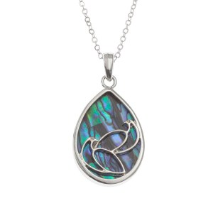 """Tide Jewellery inlaid Paua shell pair of doves pendant on 18"""" trace chain"""