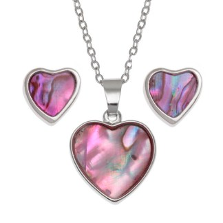 """Tide Jewellery inlaid pink Paua shell Heart pendant, on 18"""" trace chain and matching stud earring set"""