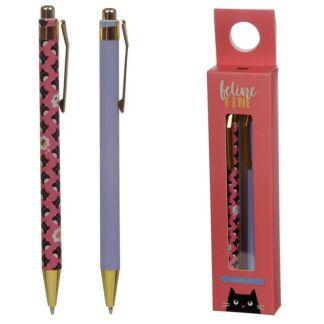 Twin 2 Pen Boxed Gift Set - Feline Fine Cat - Black Biro Ballpoint Pens