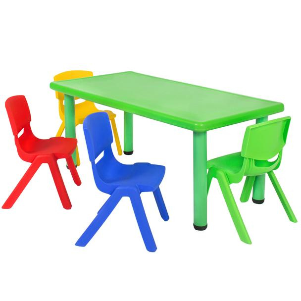 resin table and chairs set bertoia diamond chair daycare tables preschool sets at multicolored kids plastic 4