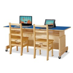 Daycare Table And Chair Set Oversized Chaise Lounge Australia Jc-3359jc Apollo Double Computer Desk - Blue