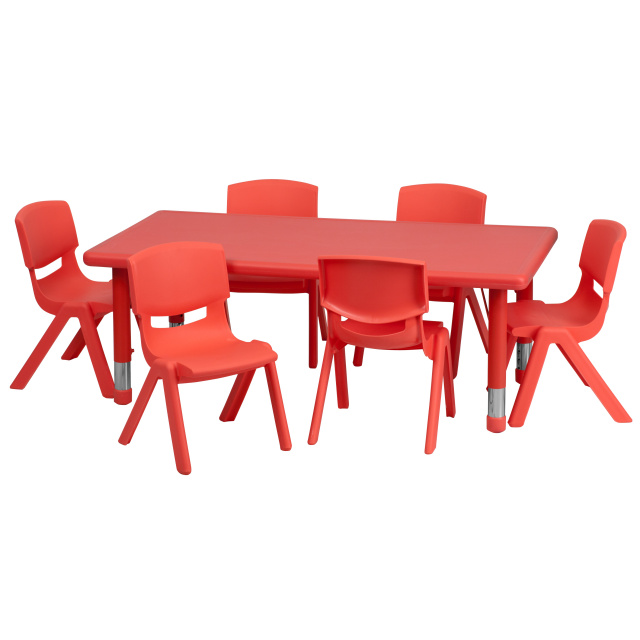 resin table and chairs set harry bertoia chair daycare tables preschool sets at ff 24 x 48 w 6 12 red