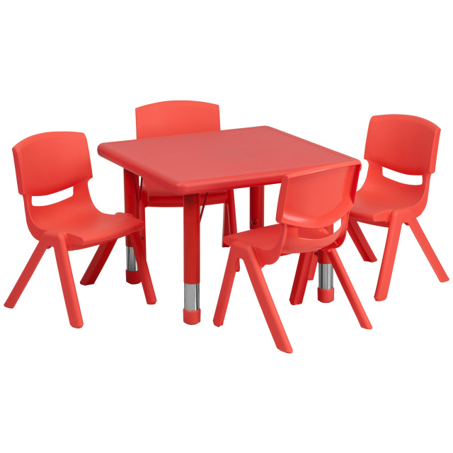 resin table and chairs set glider rocking chair parts daycare tables preschool sets at ff square 24 4 10 5 red