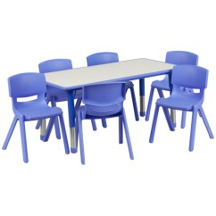 Resin Table And Chairs Set Sealy Posturepedic Chair Daycare Tables Preschool Sets At Ff 24 X 48 With 6 10 5 Blue W Gray Top