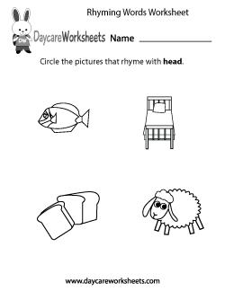 Preschool Rhyming Worksheets
