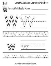 Free Printable Letter W Alphabet Learning Worksheet for ...