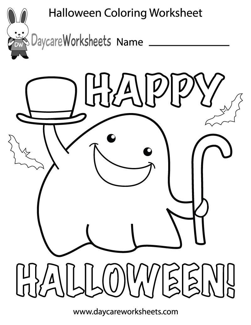 Free Preschool Halloween Coloring Worksheet