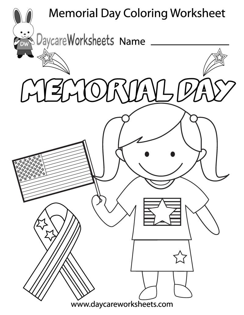 Free Preschool Memorial Day Coloring Worksheet