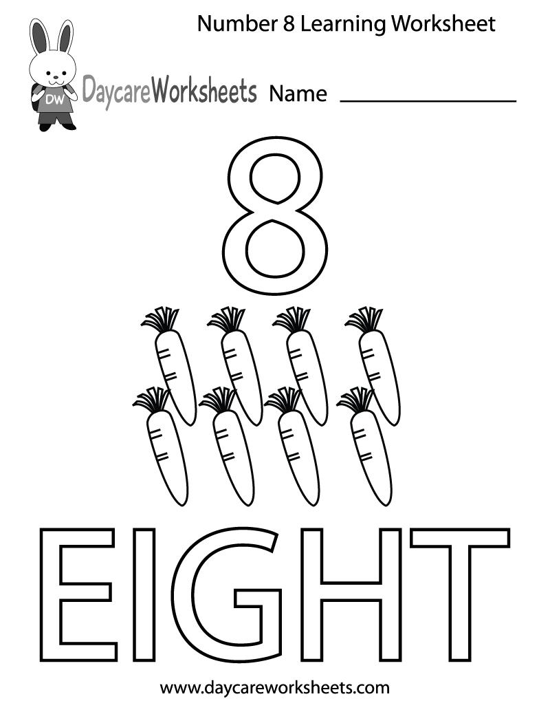 Free Preschool Number Eight Learning Worksheet