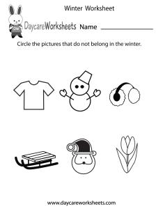 also free preschool winter worksheet rh daycareworksheets