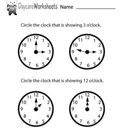 Free Preschool Telling Time Worksheet [ 1035 x 800 Pixel ]
