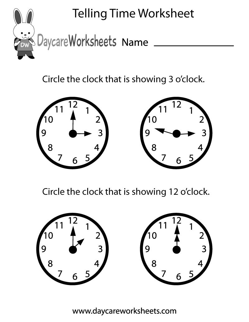 medium resolution of Free Preschool Telling Time Worksheet