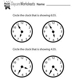 Free Printable Time Reading Practice Worksheet for Preschool [ 1035 x 800 Pixel ]