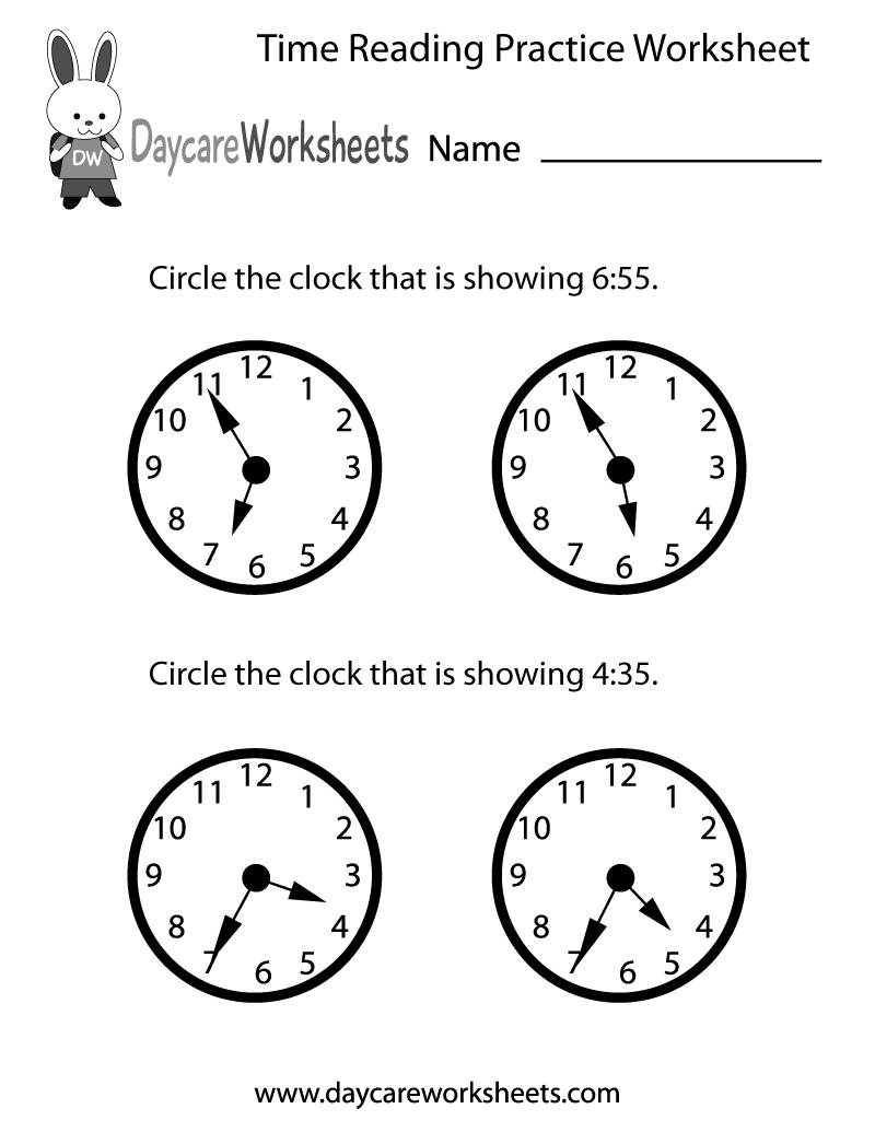 medium resolution of Free Printable Time Reading Practice Worksheet for Preschool