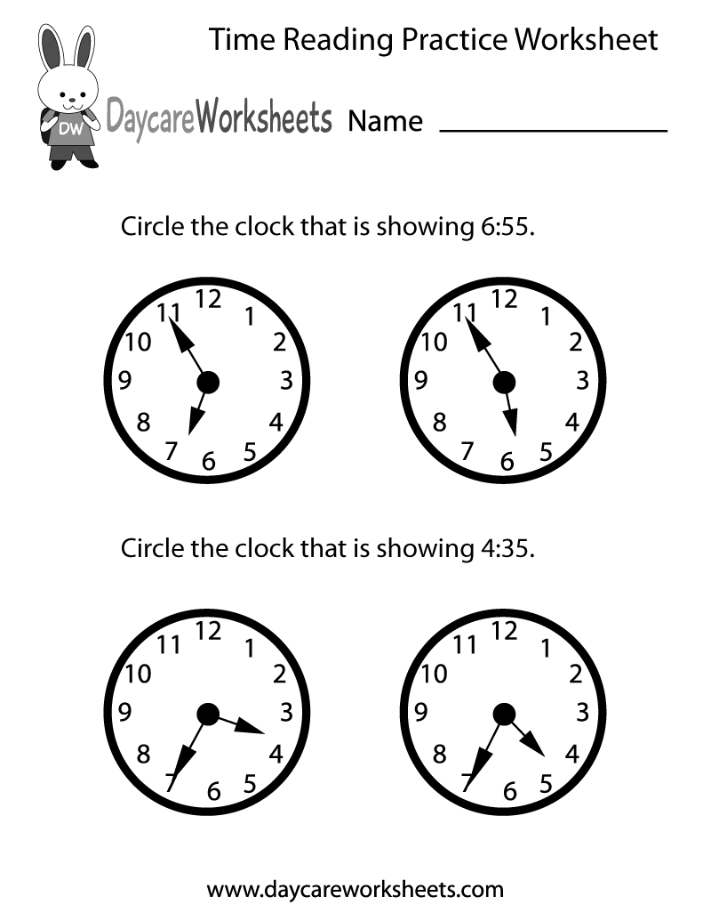 hight resolution of Free Printable Time Reading Practice Worksheet for Preschool