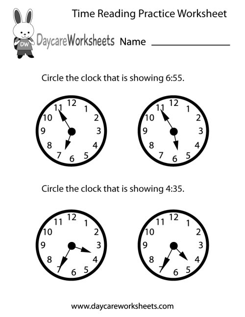 small resolution of Free Printable Time Reading Practice Worksheet for Preschool