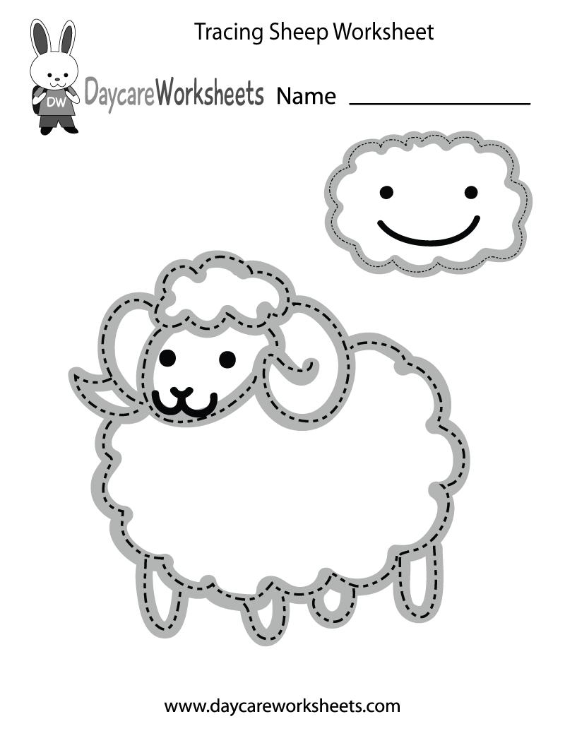 Free Preschool Tracing Sheep Worksheet