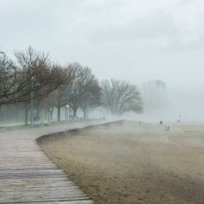 Kew Beach under heavy fog & rain
