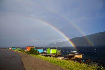 A double rainbow!! I've never seen one. Amazing. Middle Arm, Burlington area