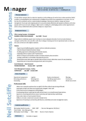 business operations manager resume