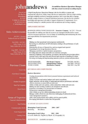 sample business operations manager resume