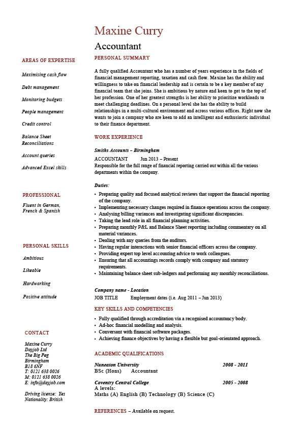 cv for academic position