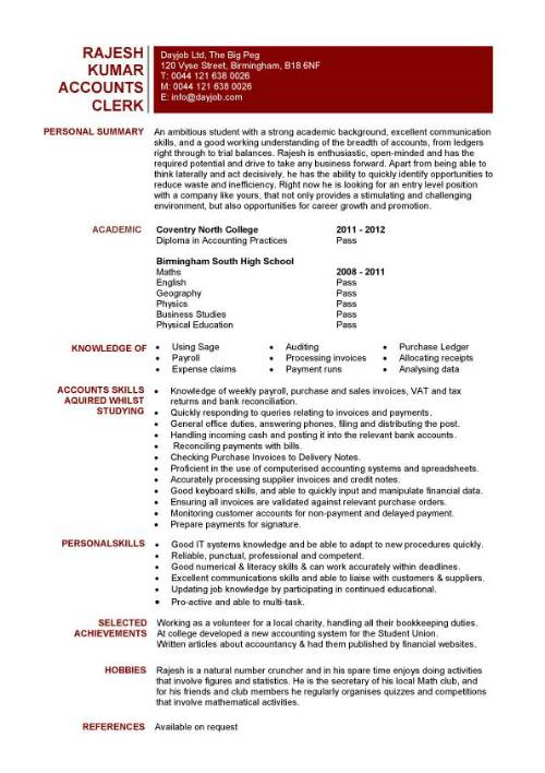 Student entry level Accounts Clerk resume template