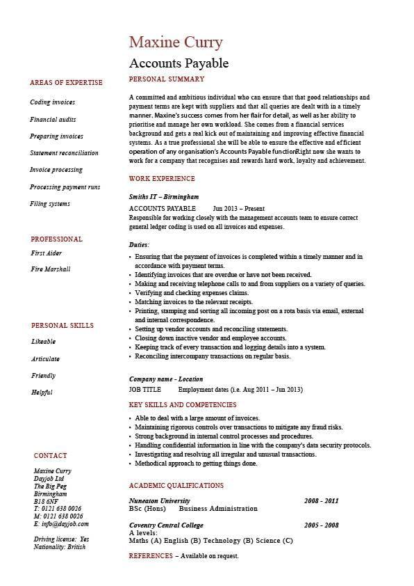 Accounts payable resume sample job description salary