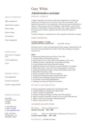 admin cv template uk