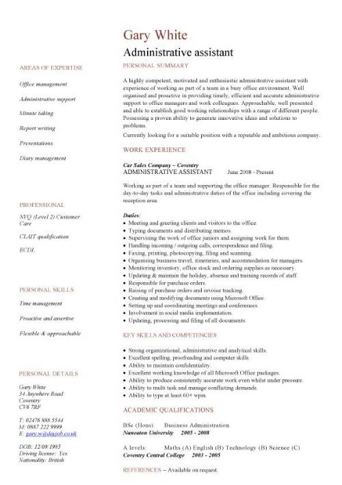 Administrative Assistant CV Sample Planning And Organizing Clerical Office Jobs Resume