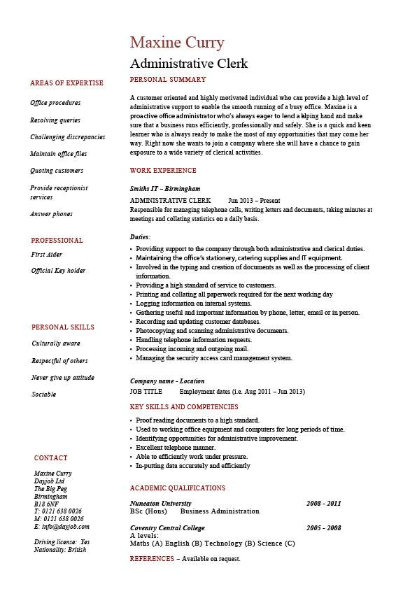 clerical key skills resume