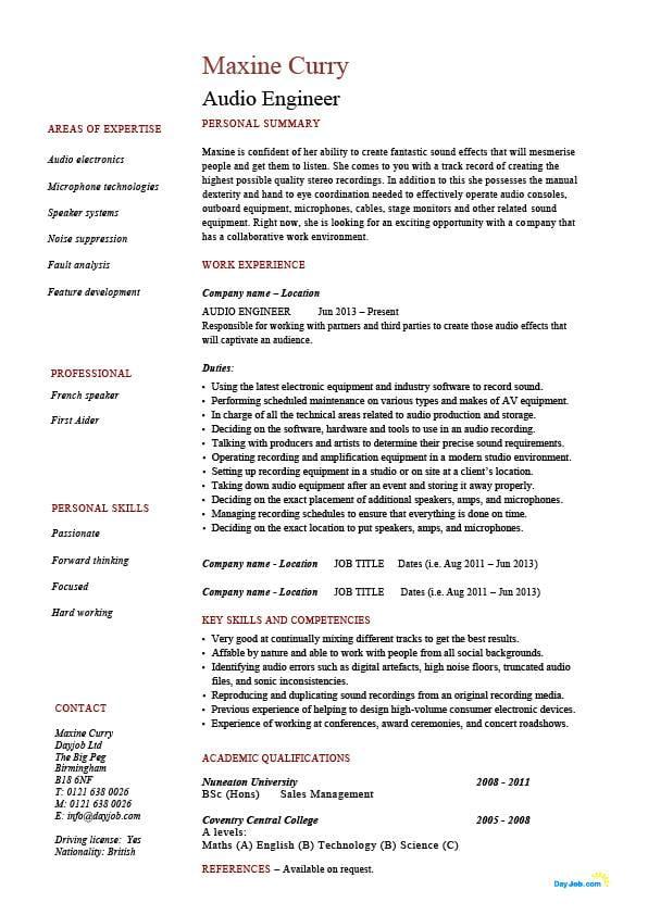 Audio engineer resume sound sample template equipment job description work